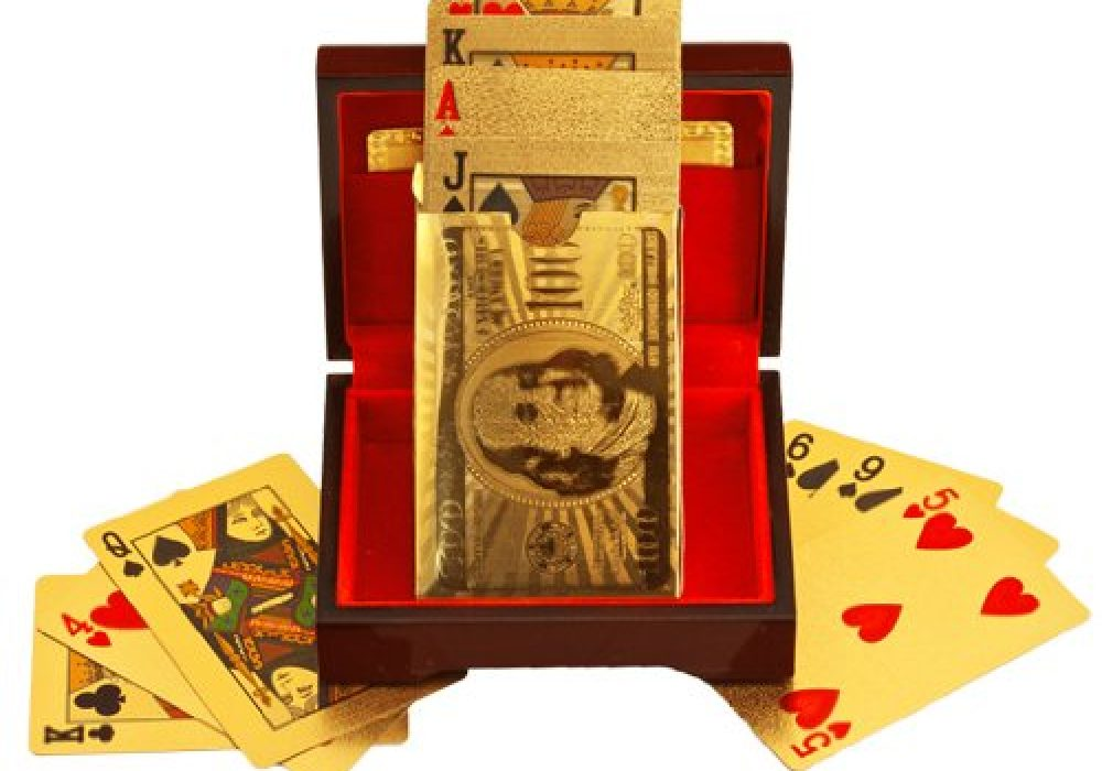 24k Gold Playing Cards Featured Poster