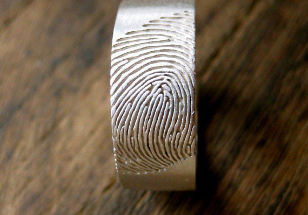 Adzias Atelier Wide Finger Print Wedding Ring Personlized Design