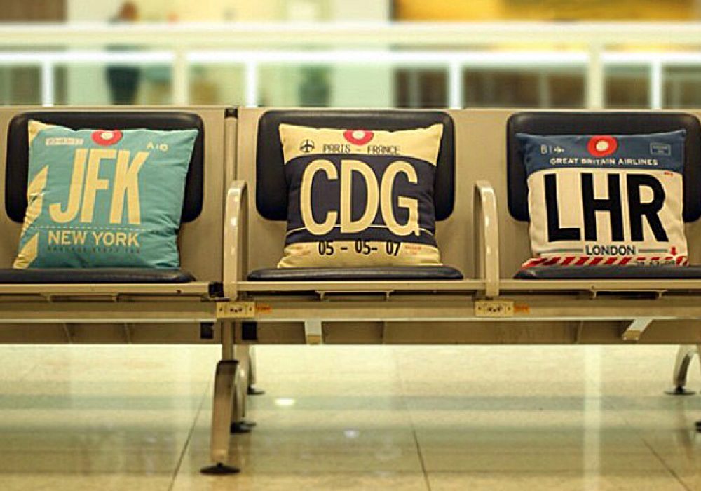 Airportag JFK Throw Pillow Gift Idea for Travelers