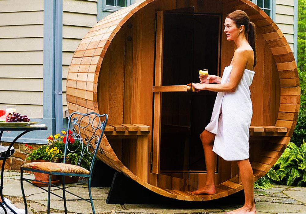 Almost Heaven Saunas Canopy Barrel Sauna Cool House Warming Gift to Buy
