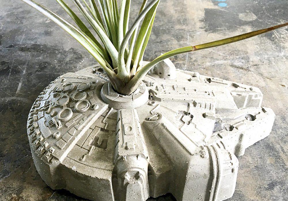 Anson Design Star Wars Millennium Falcon Concrete Planter Decorate