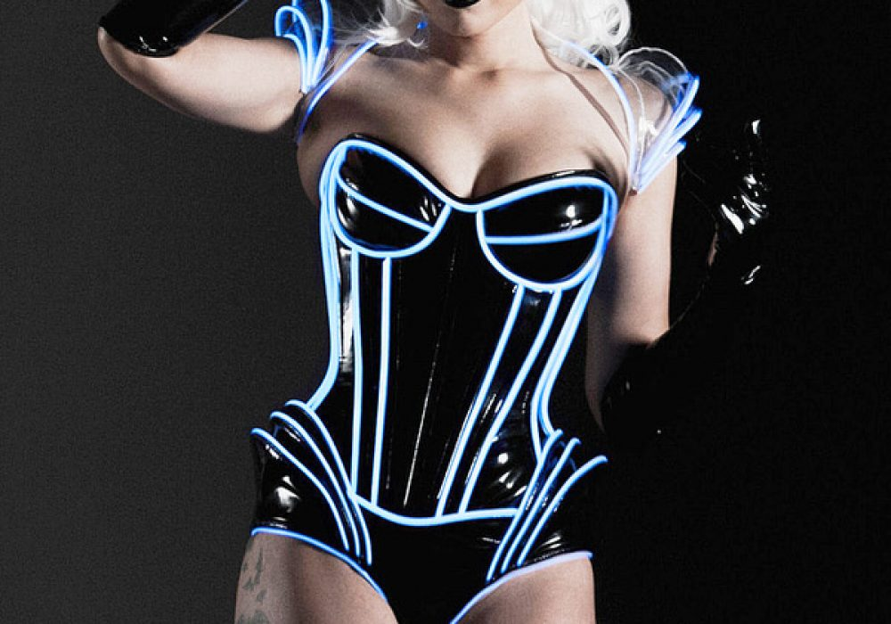 Artifice Clothing Clear PVC and Blue Glow Trim Pauldron Shrug Sexy Tron Outfit