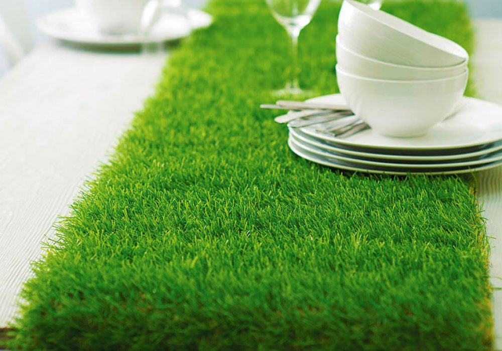 Artificial Grass Table Runner Tea Party Design Idea