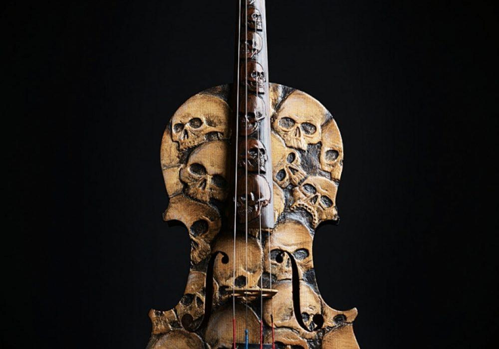 Artist In Fla Carved Skull Violin Gift for Violinist