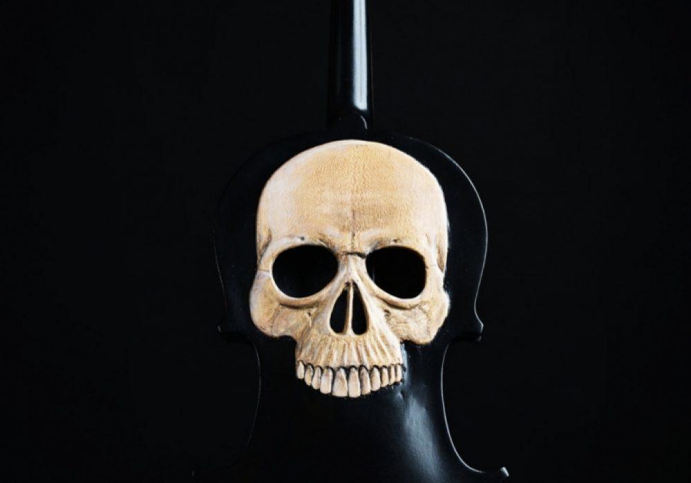 Artist In Fla Carved Skull Violin Handmade Item