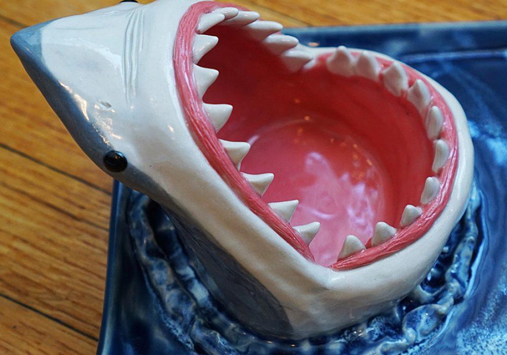 Avi Ceramics Shark Sushi Plate Made from White Stoneware