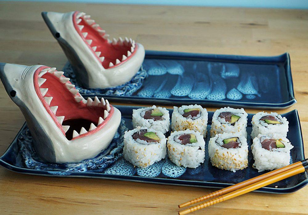 Avi Ceramics Shark Sushi Plate Novelty Item