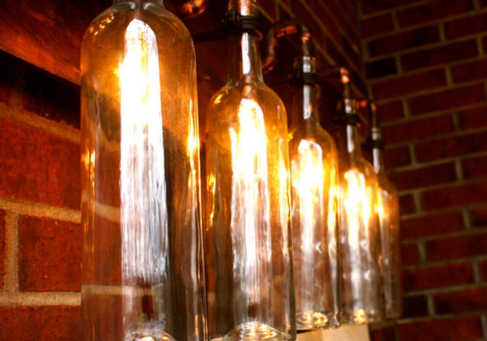 BSquared Inc Wine Bottle Light Lamp Awesome Lighting Steampunk