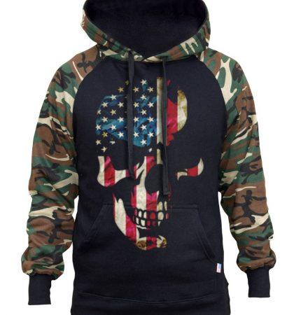 Men Hoodies & Sweatshirts Americana Skull Two Tone Camo