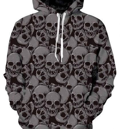 Men Hoodies Gray Skull Pattern