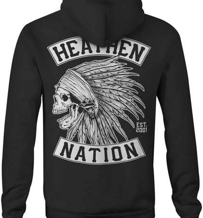 Men Hoodies Heathen Chief Skull Zip Up Hoody