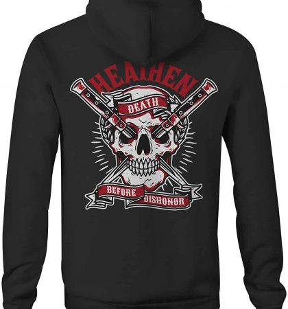 Men Hoodies Heathen Death Before Dishonor Skull Knife