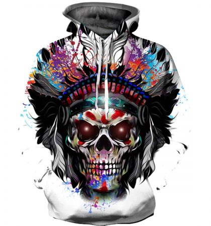 Men Hoodies Indian Skull Colorful