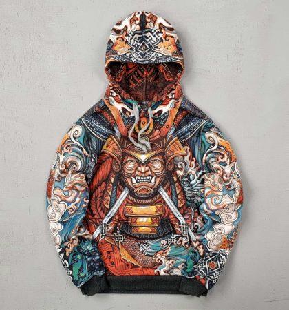 Men Hoodies Japanese Samurai Mask and Water Dragon