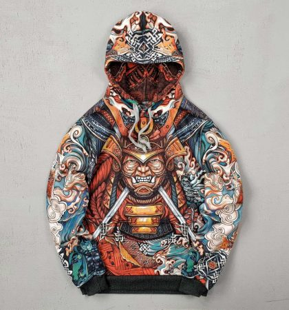 Men Hoodies Japanese Samurai Mask and Water Dragon