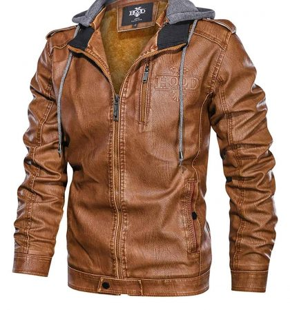 Men Hoodies Black Brown Coffee Stand Collar Warm PU Faux Leather Zip-Up Motorcycle Jacket with a Removable Hood