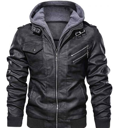 Men Hoodies Casual Stand Collar PU Faux Leather Zip-Up Motorcycle Bomber Jacket with a Removable Hood