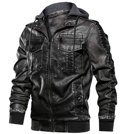 Badass Hoodie Mens Faux Leather Jacket Men Retro Full Zipper Motorcycle Jackets with Removable Hood