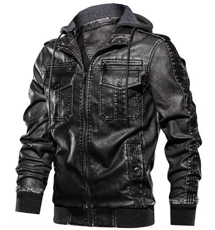Men Faux Leather Jacket Men Retro Full Zipper Motorcycle Jackets with Removable Hood