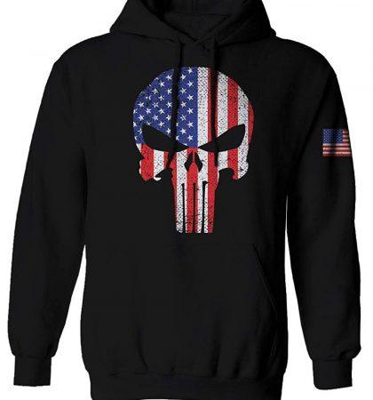 Men Hoodies & Sweatshirts Punisher Skull US Flag