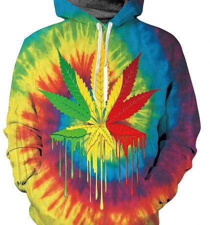 Men Hoodies Rainbow Weed