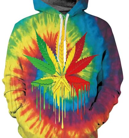 Men Hoodies Rainbow Weed