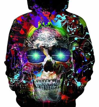 Men Hoodies Skull Glowing Eyes