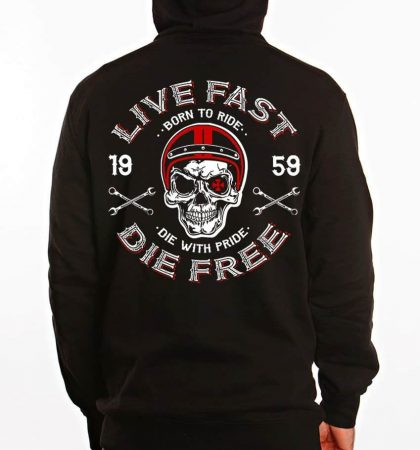 Men Hoodies Skull Helmet Dragstrip Clothing Mens Live fast Die Free Speed Hooded Top