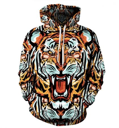 Badass Hoodie Tiger Overall Print