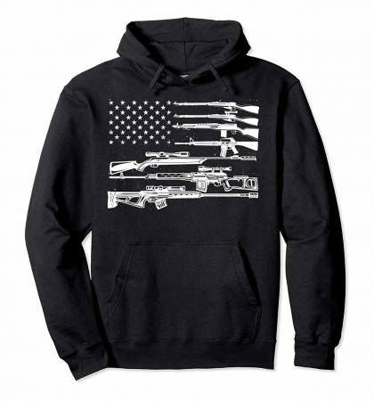 Men Hoodies & Sweatshirts US Flag Guns