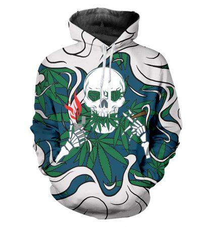 Men Hoodies & Sweatshirt Weed Skull