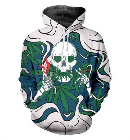 Men Hoodies & Sweatshirt Weed Skull