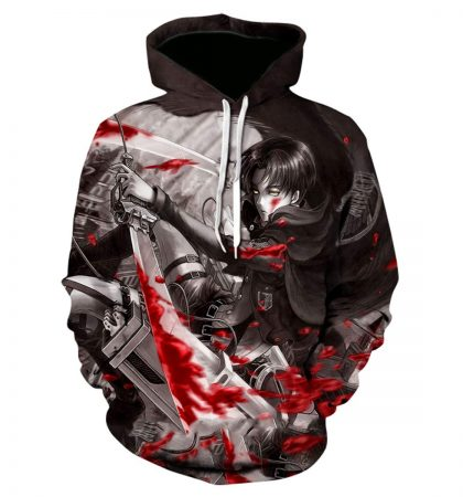 Badasss Hoodie Attack on Titan 3D Print Pullover Hoodie Sweatshirt with Front Pocket