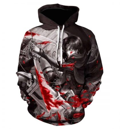 Men Hoodies & Sweatshirt Attack on Titan 3D Print Pullover with Front Pocket