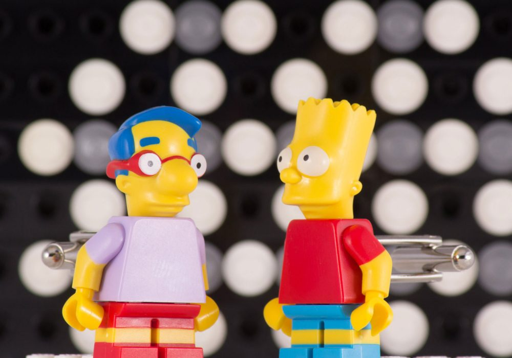 Bart and Millhouse Simpsons Lego Cufflinks Playful Fashion