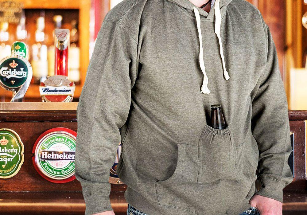 Beer Pouch Hoodie Sweatshirt Grey Gift to Buy Him