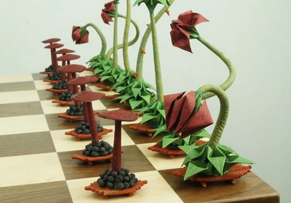 Benagami Origami Bonsai Chess Set Hand Painted