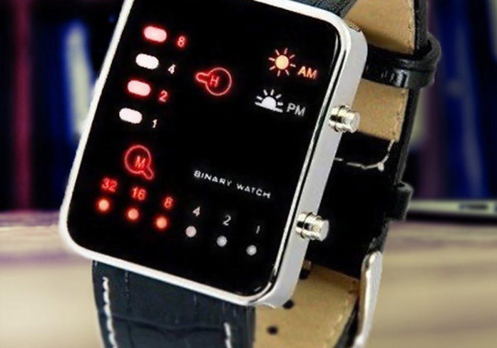 Binary Code Digital Display LED Watch Retro Futuristic Fashion