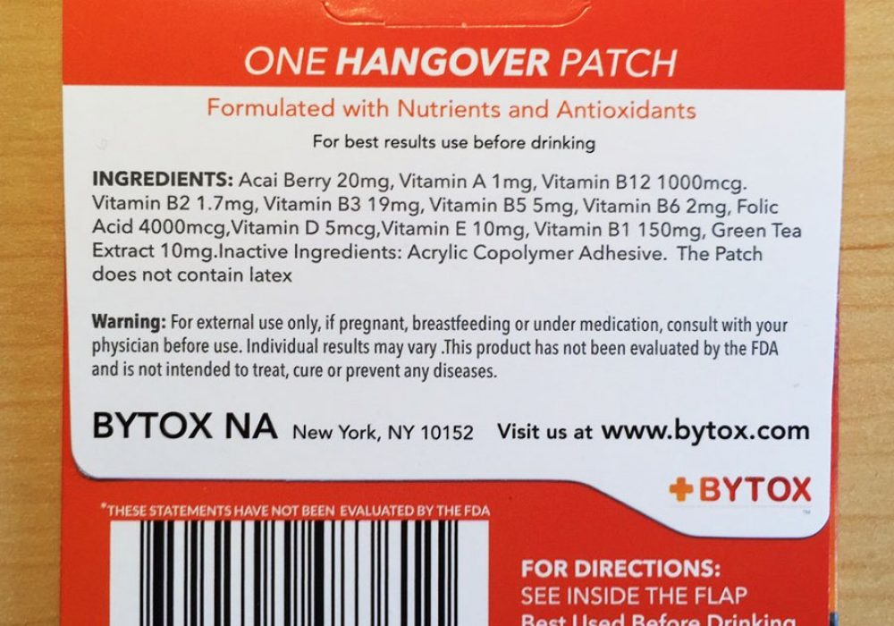 Bytox Hangover Patch Nutrients