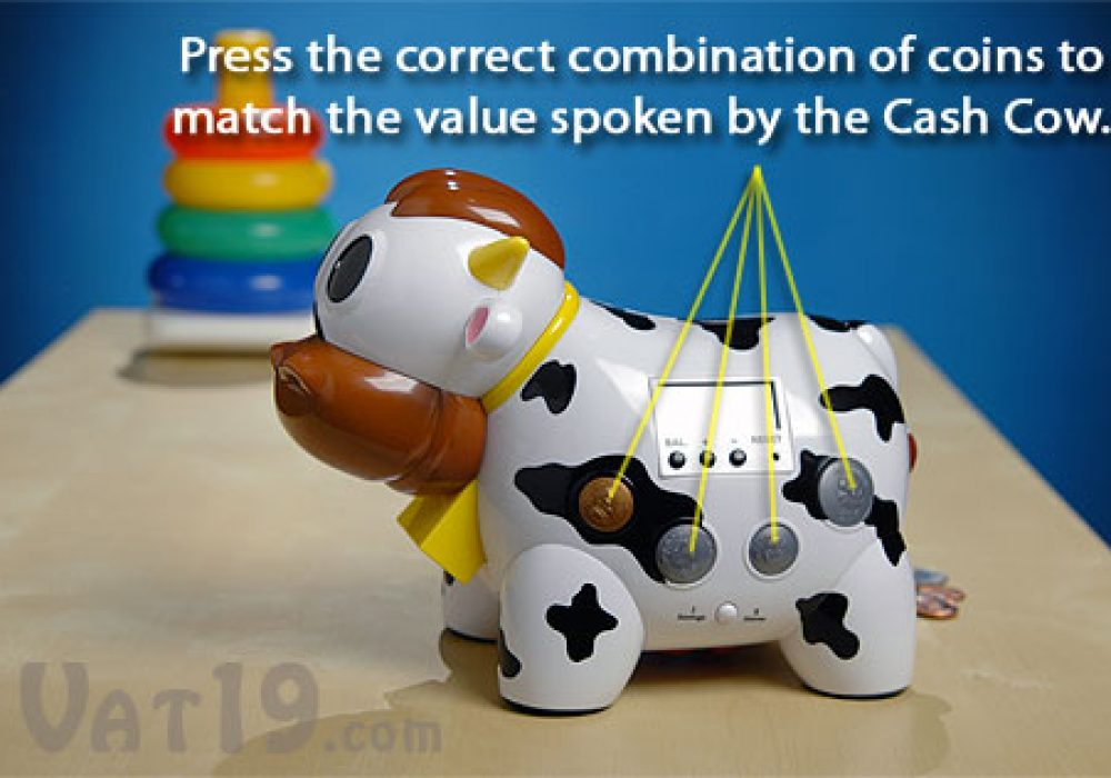 Cash Cow Electronic Talking Bank and Game Feature Add Coins