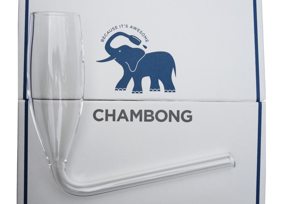 Chambong Champagne Glass Blue Elephant