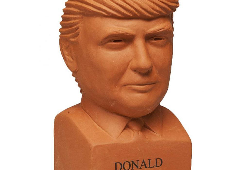 Chia Donald Trump Freedom of Choice Pottery Planter Display