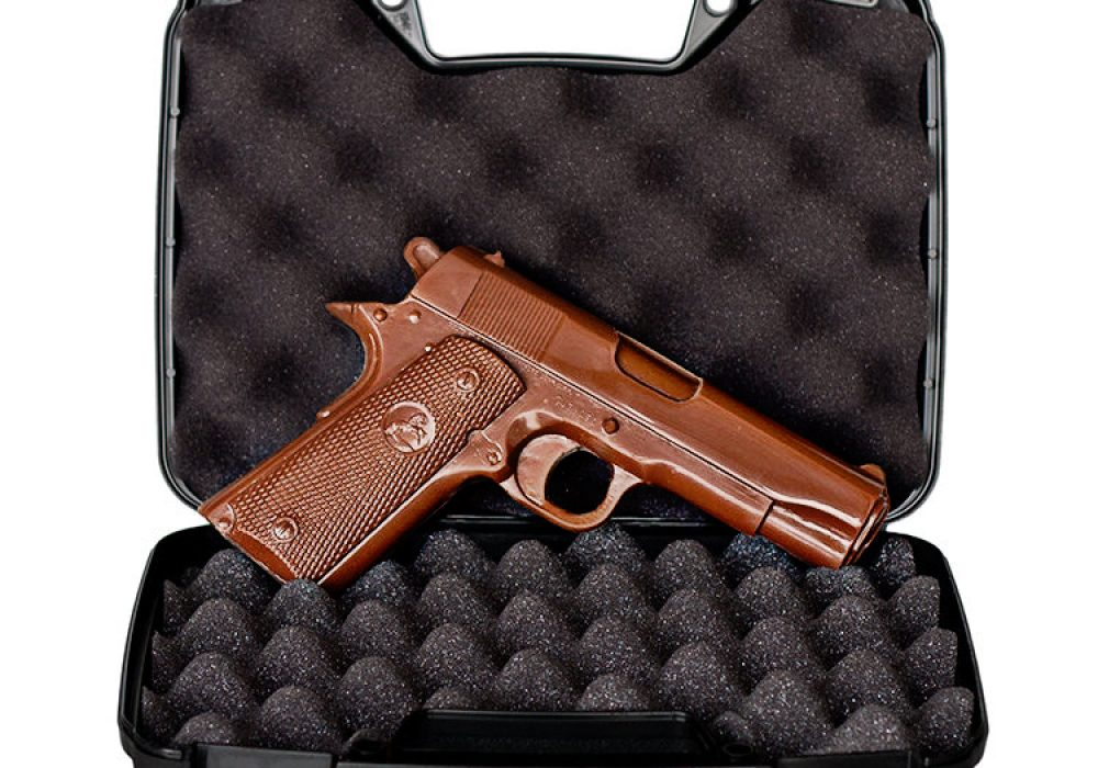 Chocolate Weapons Solid Milk Chocolate 1911 Handgun Edible Killing Machine
