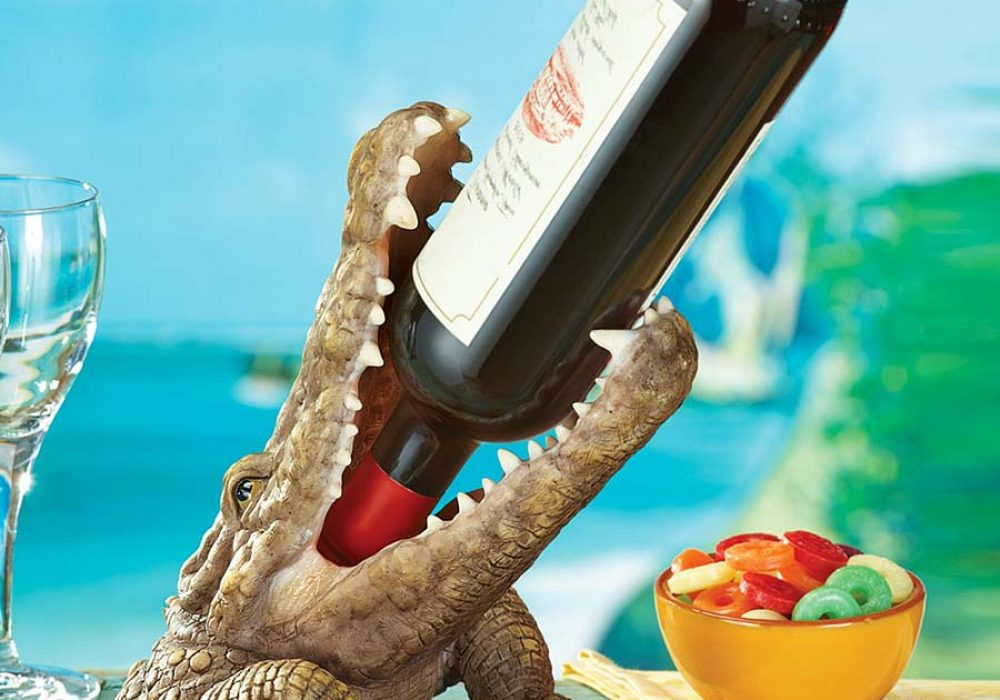 Collections Etc. Crocodile Wine Bottle Holder Table Accessory