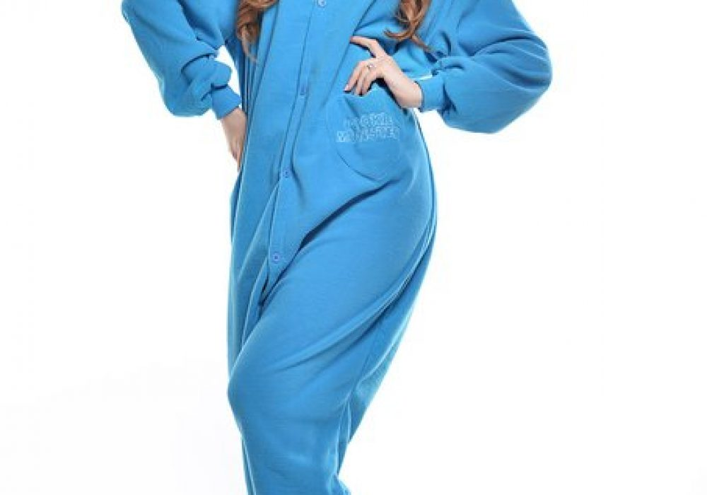Cookie Monster Unisex Adult Pajama Cute Blue Onesie