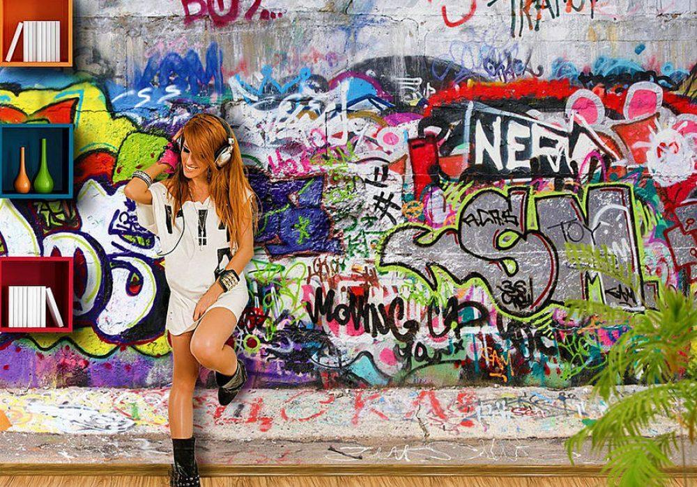 Cool Graffiti Photo Wall Mural Dorm Wallpaper