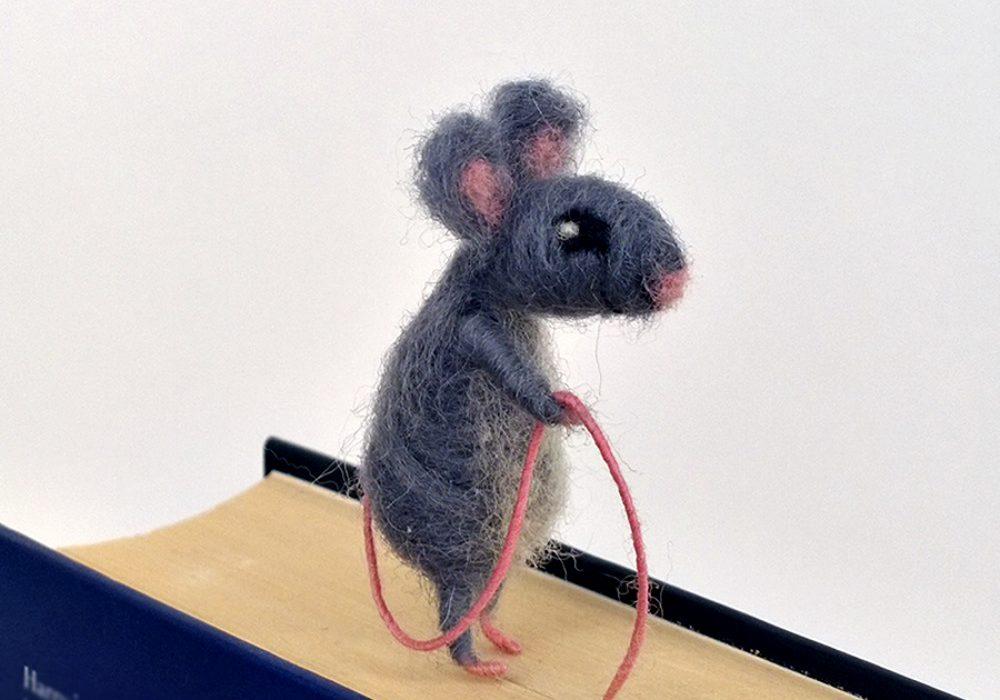 CozyMilArt Felt Miniature Grey Mouse Bookmark Accessory