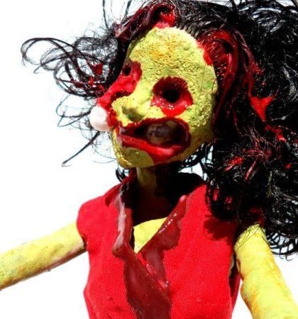 Creepy Zombie Barbie Doll In Red Dress