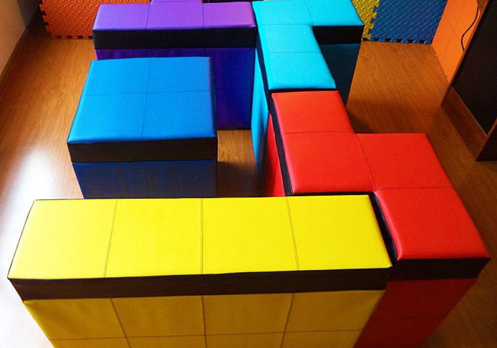 Cromaleon Tetris-shaped Storage Benches Colorful Gamer Furniture