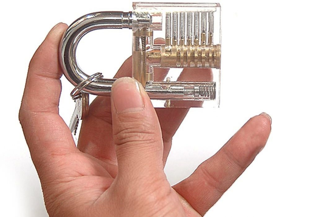 Crystal Visible Cutaway Padlock Lock Pick Training